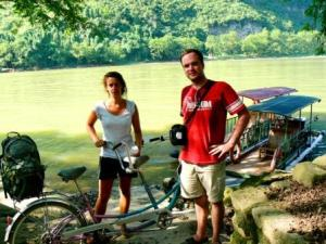 Mano, Miguel, the bike, and the boat !